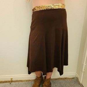 Pretty good Brown Sequin Stretchy Skirt